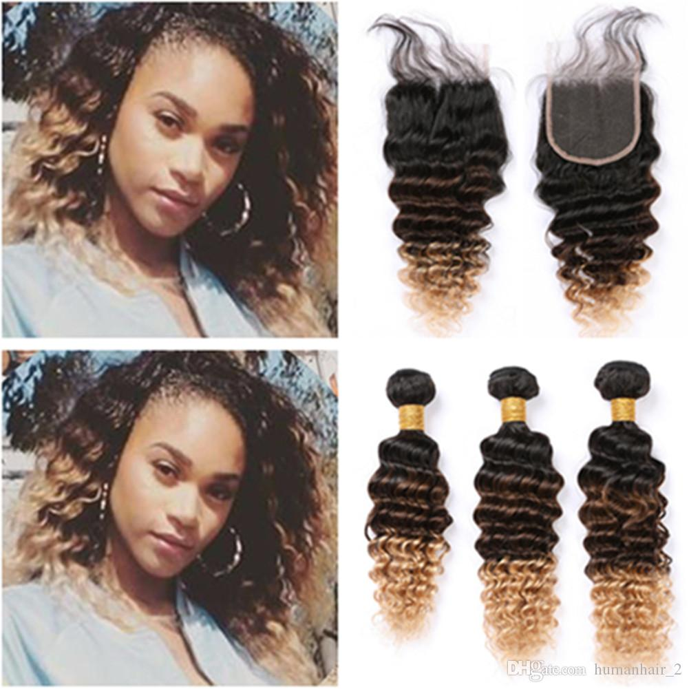 #1B 4 27 Honey Blonde Ombre Brazilian Virgin Hair Weaves with Closure Deep Wave Three Tone Ombre Human Hair 3Bundles with Lace Closure