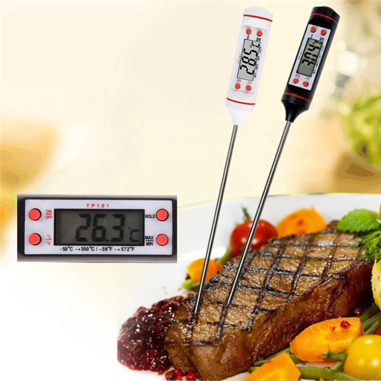 디지털 음식 요리 온도계 프로브 고기 가정용 홀드 기능 주방 LCD 게이지 펜 BBQ 그릴 캔디 스테이크 우유 물 4 버튼