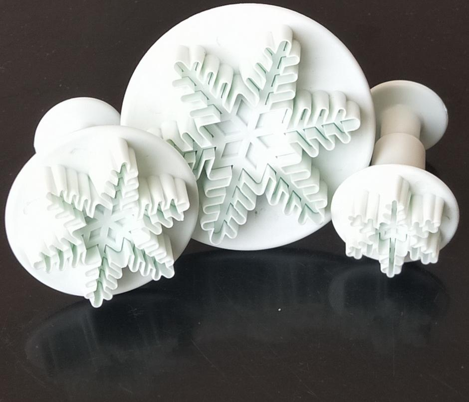3P Nuevo copo de nieve Pastel de nieve Fondant Pastelería Cortador Molde Herramientas Decoración Artesanía Fondant Plunger Torta Herramienta Molde