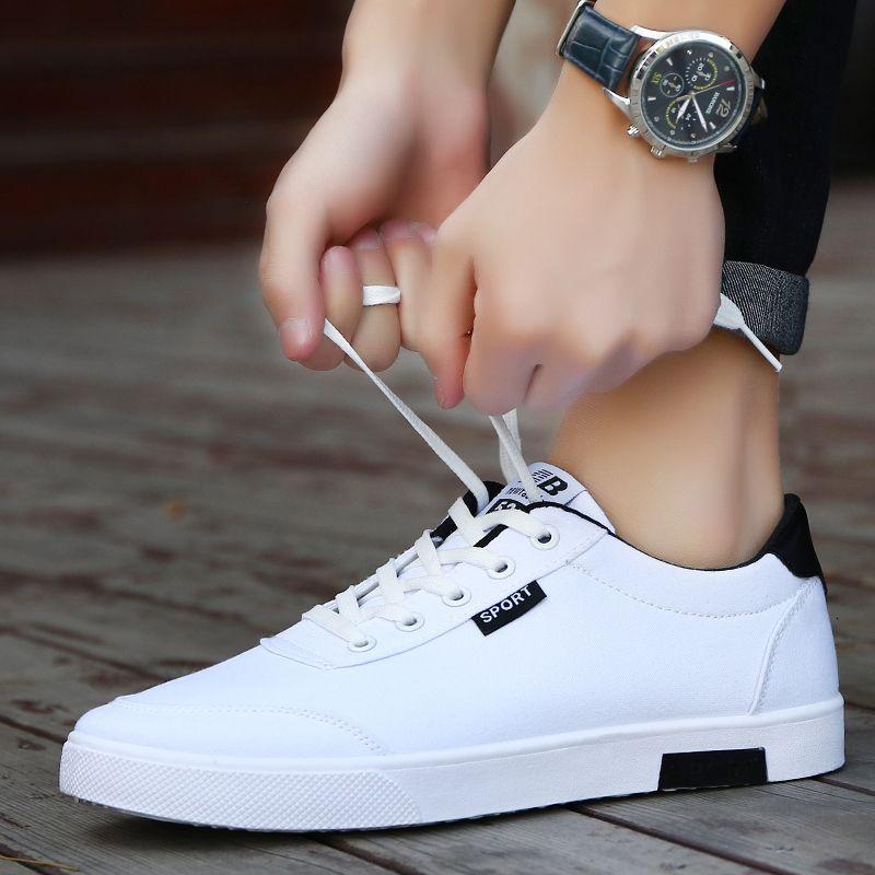 Zapatos de los hombres de 2018 estudiantes La nueva manera ocasional pizarra blanca zapatos hombres tendencia de los zapatos de lona de las zapatillas de deporte zapatos transpirables hombre LY191210