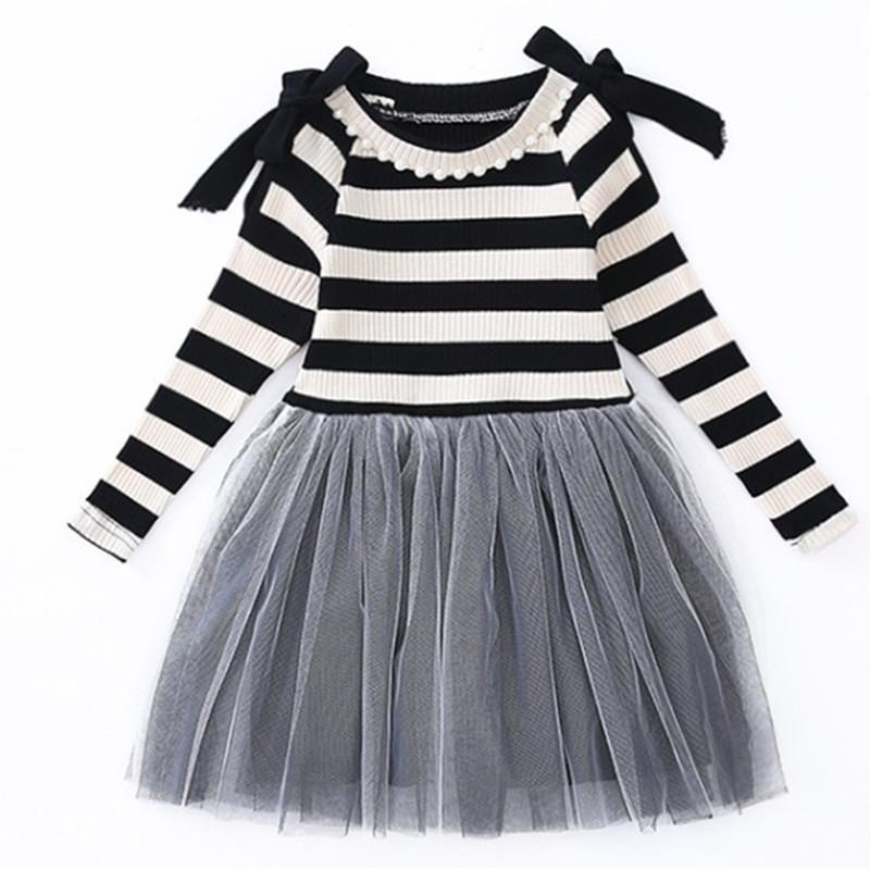 Kid filles Robe rayée à manches longues perles ressort filles Vêtements Princesse Fêtardes Robe 6 7 8 9 10 11 12 13 14 ans