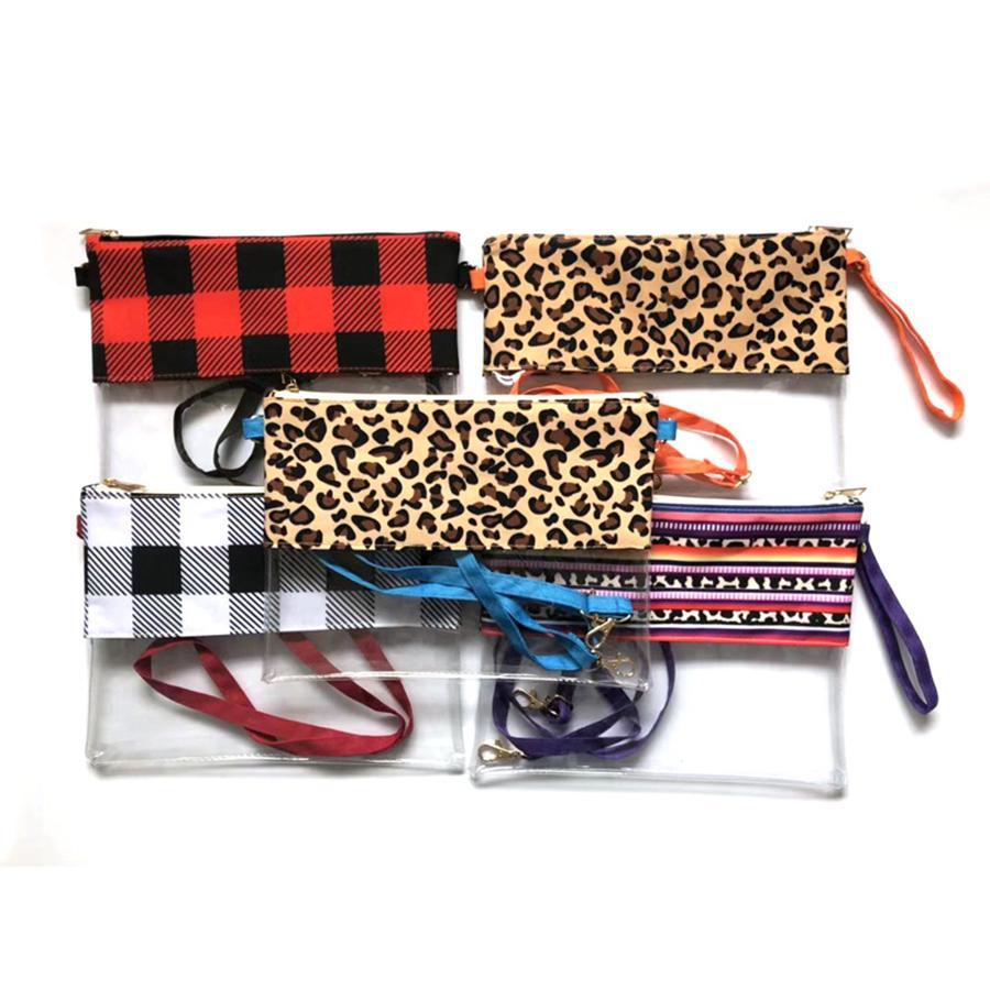 Mulheres Moda Ombro Único Saco de PVC Transparente À Prova D 'Água Crossbody Bolsa Clara Bolsa Grade Leopard Grain Handbag 5styles RRA2038
