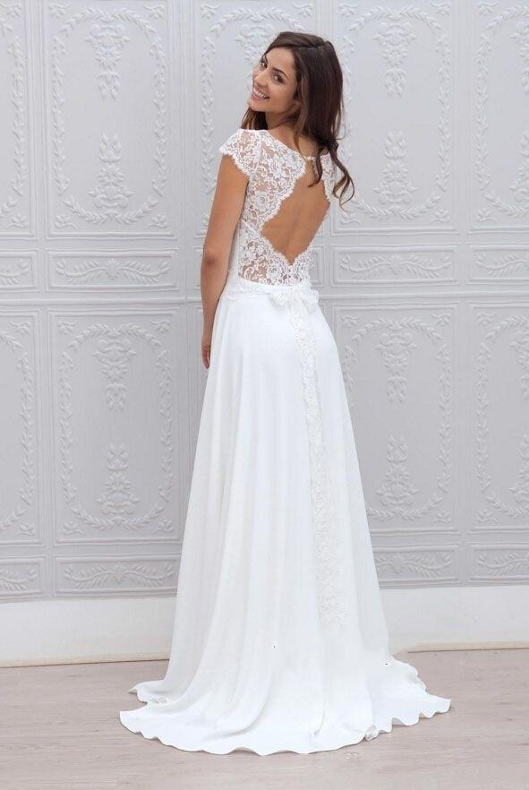 Jewel Neck Simple White Chiffon Beach Wedding Dresses 2020 A Line Backless Floor Length Chic Cap Short Sleeves Lace Bridal Gowns cheap