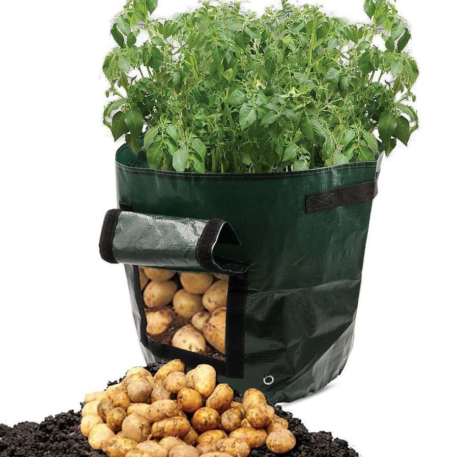 زراعة النباتات المعمرة حقيبة بلاستيكية البطاطس زراعة زهرة وعاء البطاطس تنمو الحاويات الغراس PE زراعة الخضروات الطماطم الحدائق وعاء