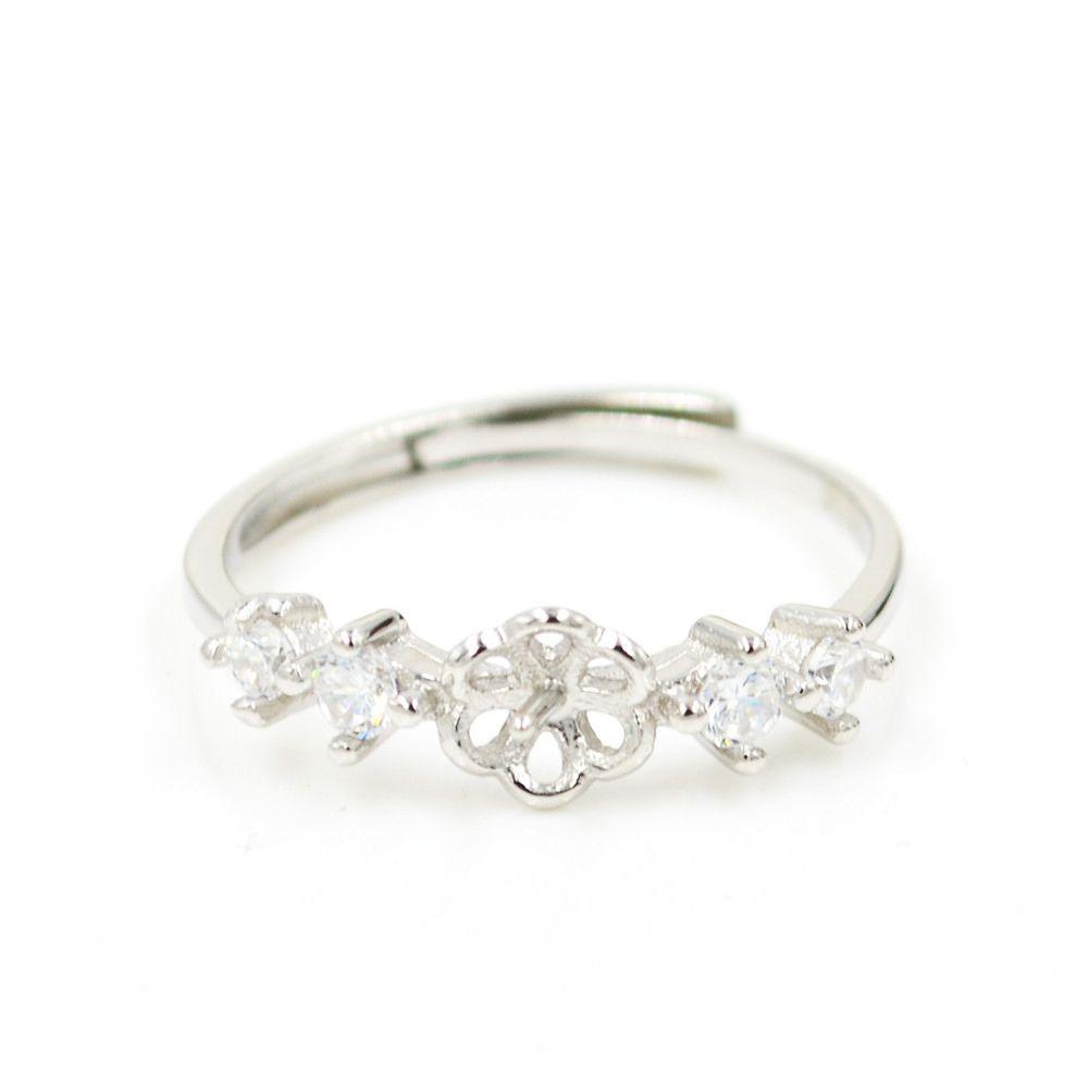 Оптовая продажа S925 стерлингового серебра кольцо крепления с 4 бриллиантовое кольцо дизайн для женщин жемчужные украшения diy бесплатная доставка регулируемое открытие