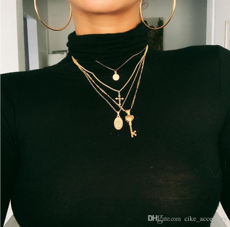 Sıcak satış dört katman kolye disk çapraz anahtar Meryem Madonna asılı altın renkli kaplama metal zincir
