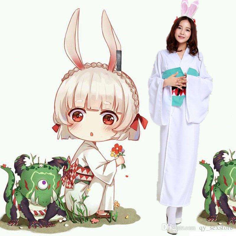 섹시한 세트 애니메이션! Onmyoji Shikigami 토끼 초기 기모노 드레스 유니폼 코스프레 의상 여성을위한 풀 세트
