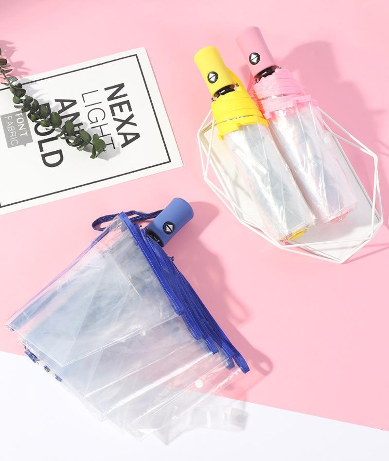100pcs Auto trasparente 3 Fold Mini ombrello tascabile Ombrello antivento compatto chiaro ombrello impermeabile Solid dom Pioggia Auto Ombrello A326