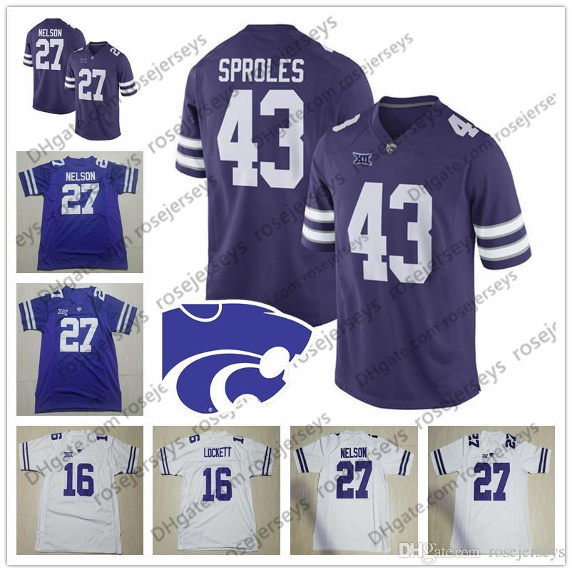 NCAA 캔자스 주 와일드 캣 # 27 Jordy Nelson 43 Darren Sproles 16 Tyler Lockett 7 Collin Klein Purple White Vintage 은퇴 한 축구 유니폼