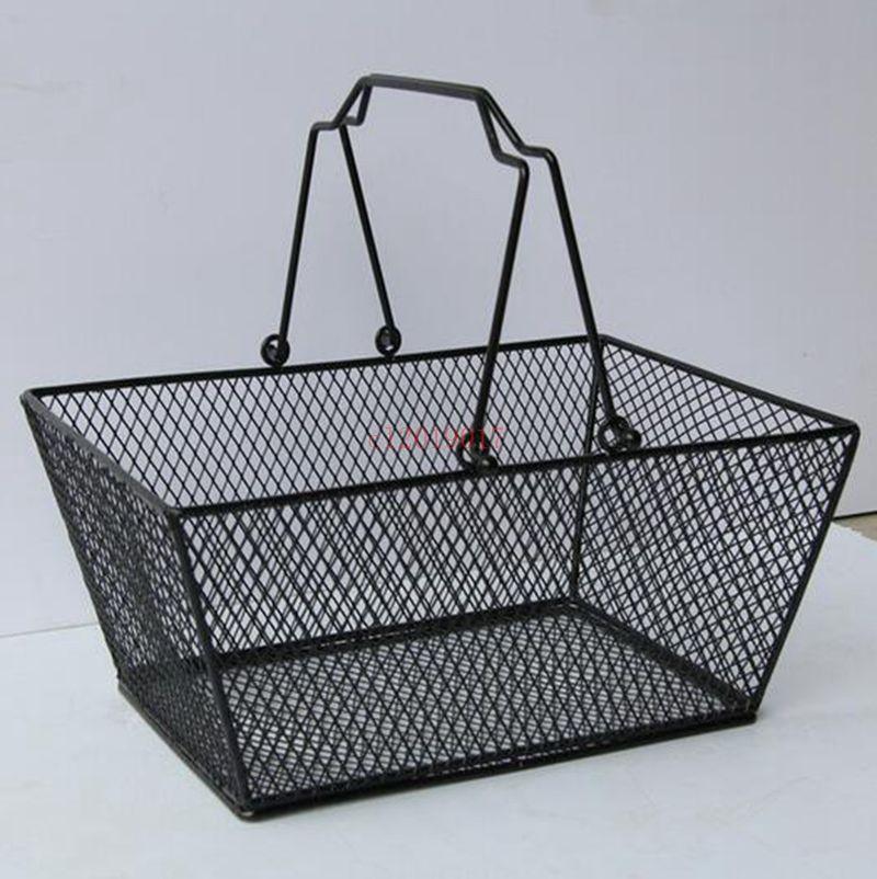 10pcs negro cestas de almacenamiento de cosméticos ahuecaron hacia fuera diseño Skep con mango de malla de alambre de hierro cesta de la compra