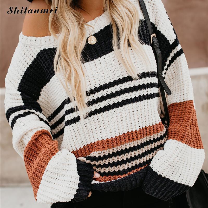 Мода теплая осень и зима свитер женская мода полосы O воротник пуловер с длинным рукавом женская повседневная свитер тянуть