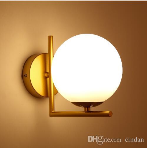 Modern nordic Cam Meta siyah / altın top Retro Vintage Duvar lambası E27 Loft cafe yatak odası fuaye için