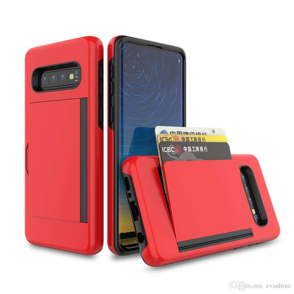 Shockproof 3 in 1 Hard Hybrid Armor Phone Case Cover With Slide Card Slot Holder For Huawei Mate 20
