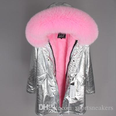 bling bling Sliver Long Jacket Damen-Samtpelz Liner-Down-Parkas mit Real Fox-Fellkragen Norwegen Schweden
