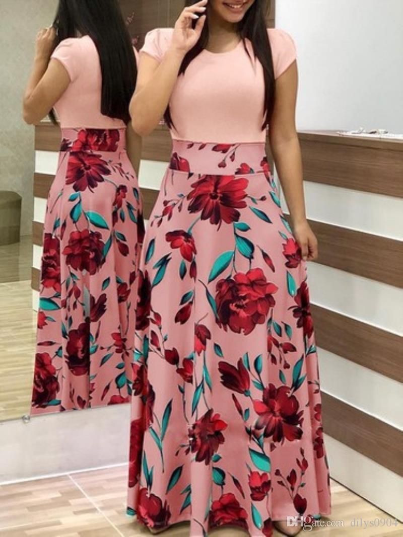 Vestidos casuales vestido de diseñador Ropa de mujer Venta caliente en otoño Vestido de bloque de color con estampado de flores europeas y americanas Falda larga Mujer