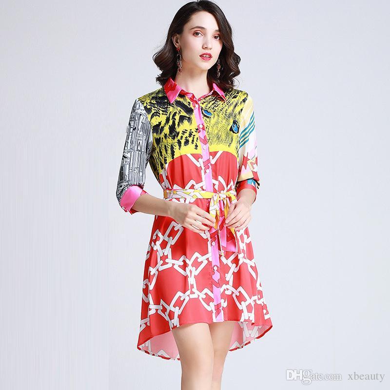 2019 Women's Runway Dresses Turn Down Collar 3/4 Sleeves Animals Printed Sash Belt High Low Fashion Shirt Dresses