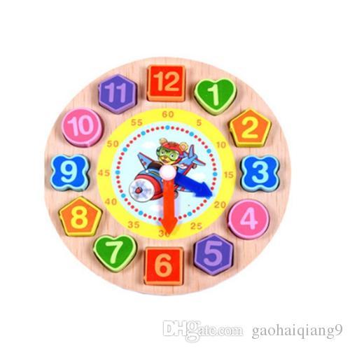 الكرتون ألعاب خشبية الرياضيات لغز ملون الرقمية الهندسة ساعة الطفل التعليمية خشبية الخرز سلسلة ساعة من الخرز اللعب