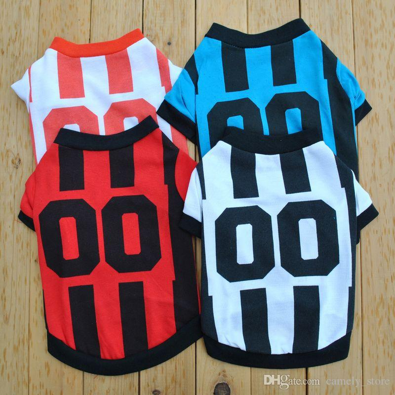 vêtements chiot vêtements pour animaux sports jersey classique vent T-shirt Toutous GÂTER chiot mignon chandail été shirt veste manteau 4 couleurs