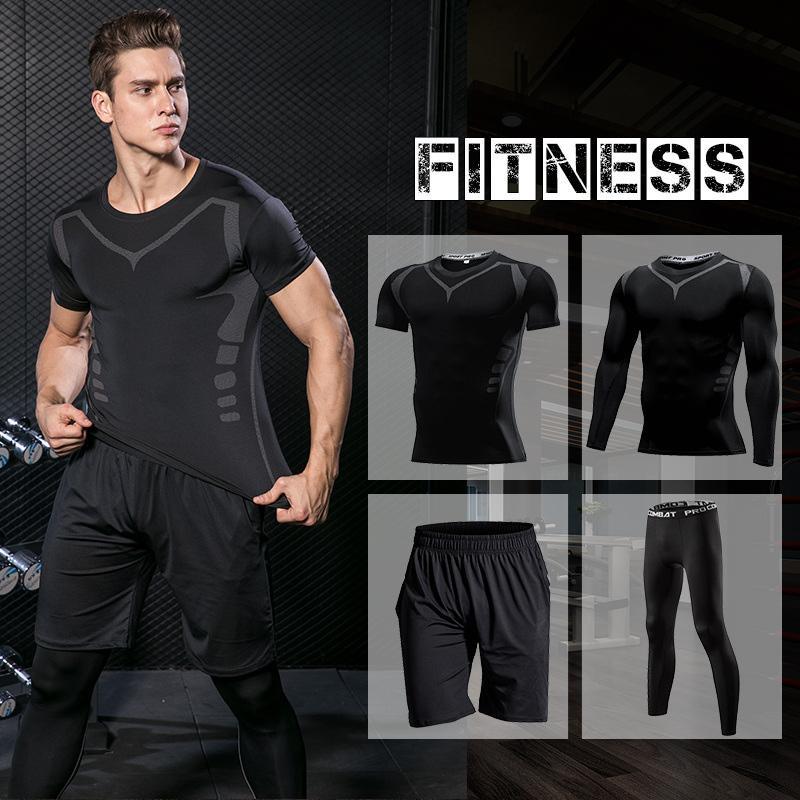 Мужская Запуск Set Обучение Tracksuit Мужчины Открытый Спортивная одежда Gym Compression КОСТЮМ Фитнес Tight Спортивная Rashgard