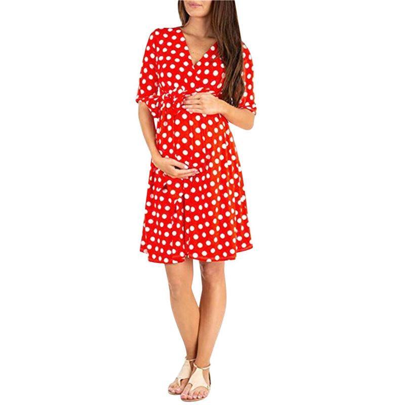 2020 robe pour les femmes enceintes de la mode d'été mi-longues à encolure bateau quotidien coton orange, manches courtes Popeline vêtements de maternité