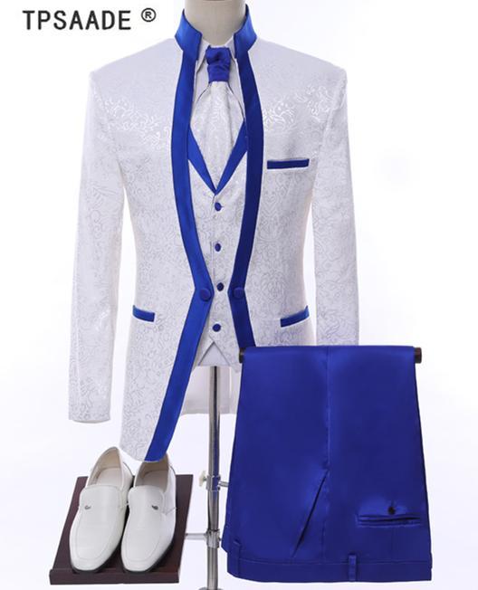 Branco Royal Blue Rim Stage Roupas para Homens Conjunto de Terno dos Mens Ternos de Casamento Fato do Traje Formal (Casaco + Calças + Veste + Laço)