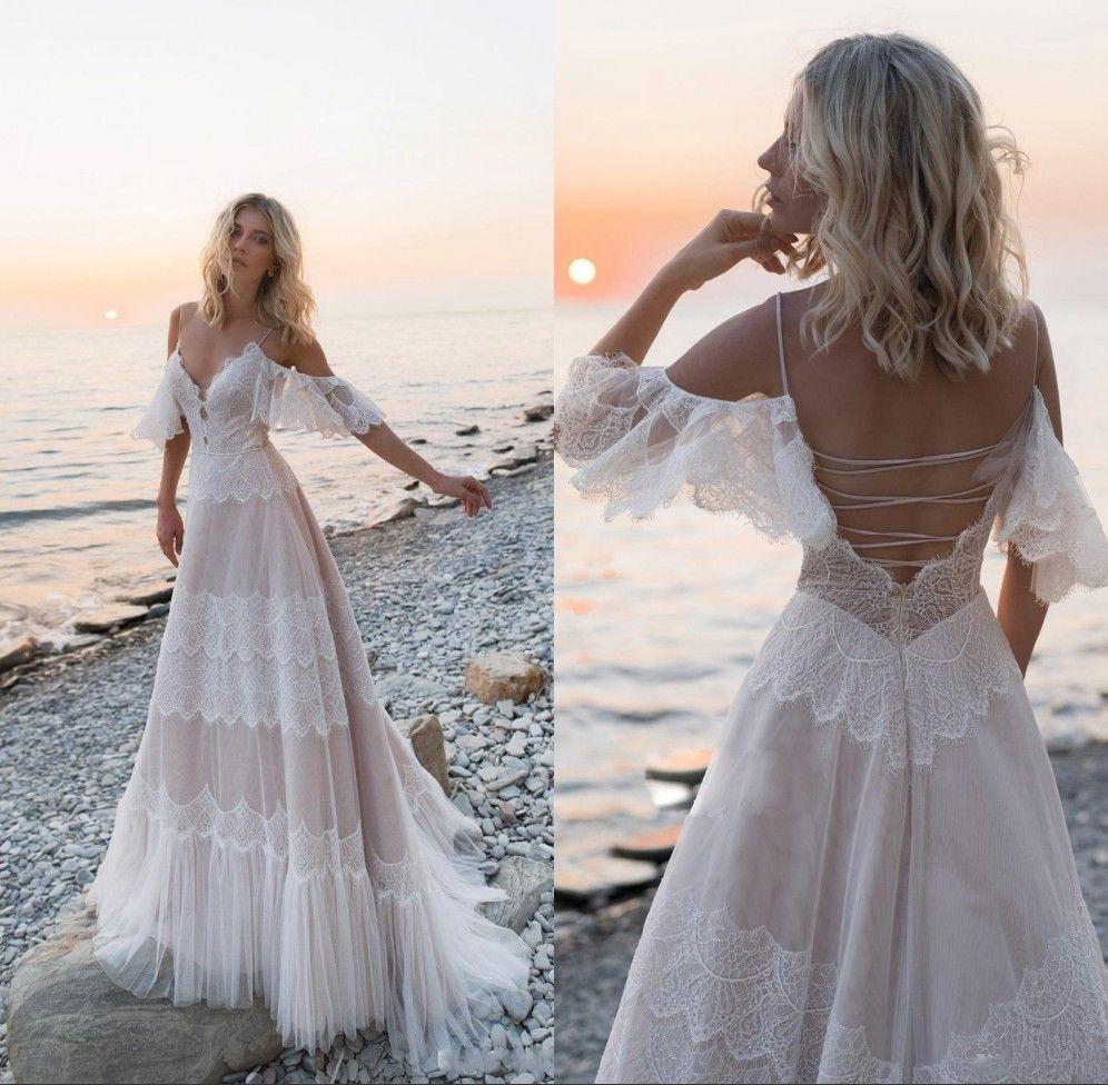 Новый Boho Beach Свадебные платья 2020 Скидка Плечо Кружева Аппликации Свадебные платья Сексуальная Без спинки Свадебное Свадебное платье Робин де Марие