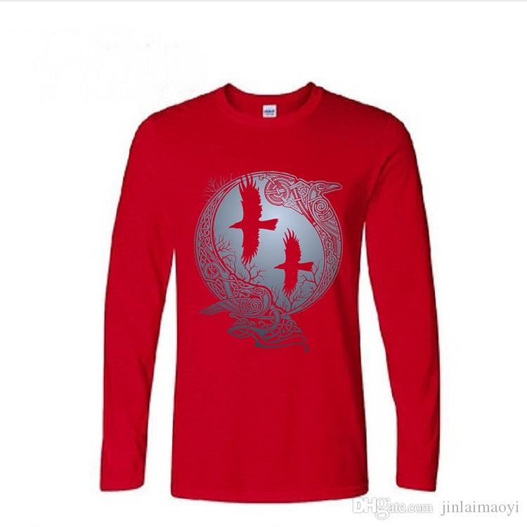 Vikings TV Series Odin's Raven Ragnar Lodbrok Tshirts Mens casual long sleeve T-shirt tee men Hiking Fitness cotton pullover t shirt