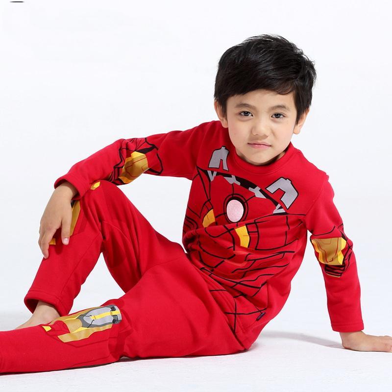 Frete grátis New aviões crianças Iron Set meninos homem Homewear manga longa primavera Outono sleepwear roupas de bebê lindo pijama terno