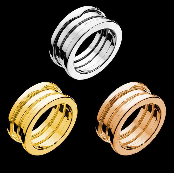 Acero inoxidable 316L Joyas plata oro rosa Color primavera anillos mujeres hombres joyería de la boda pareja amante anillo
