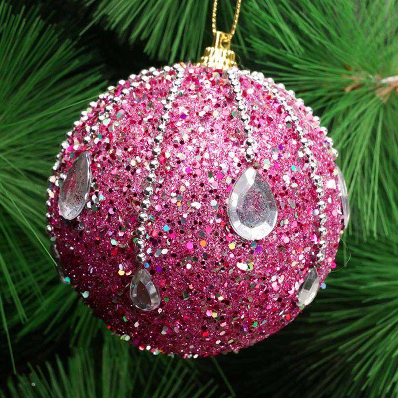 8cm Merry Christmas Rhinestone Glitter Baubles Tree Balls Decoration for Home Xmas Tree Hanging Foam Balls Ornaments