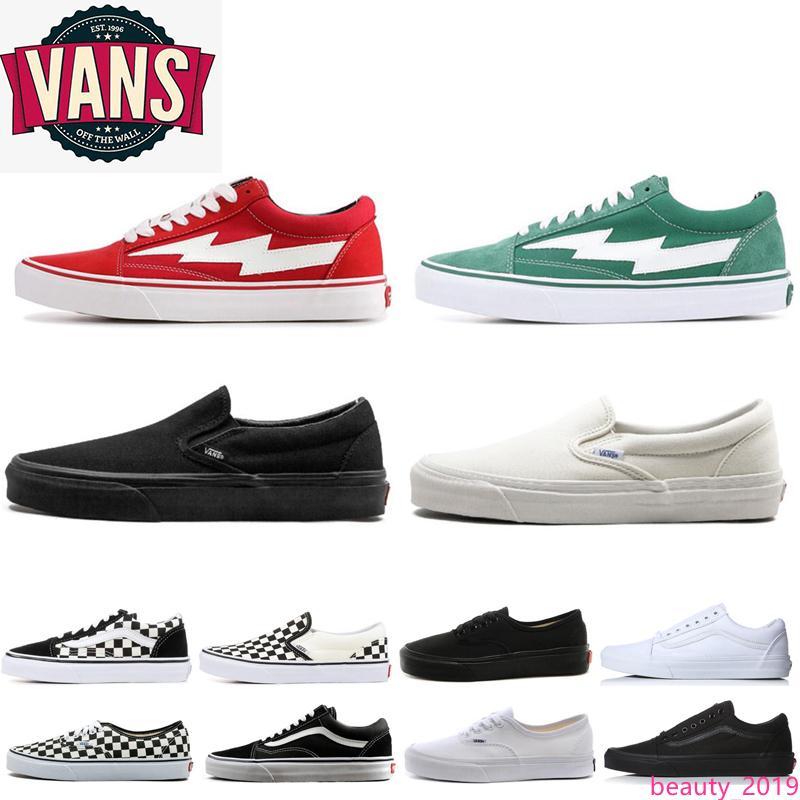 Men Women Van Old Skool Canvas Shoes Sneakers all black white slip on black white Sports Skateboarding Mens van baskets Casual Shoes 36-44