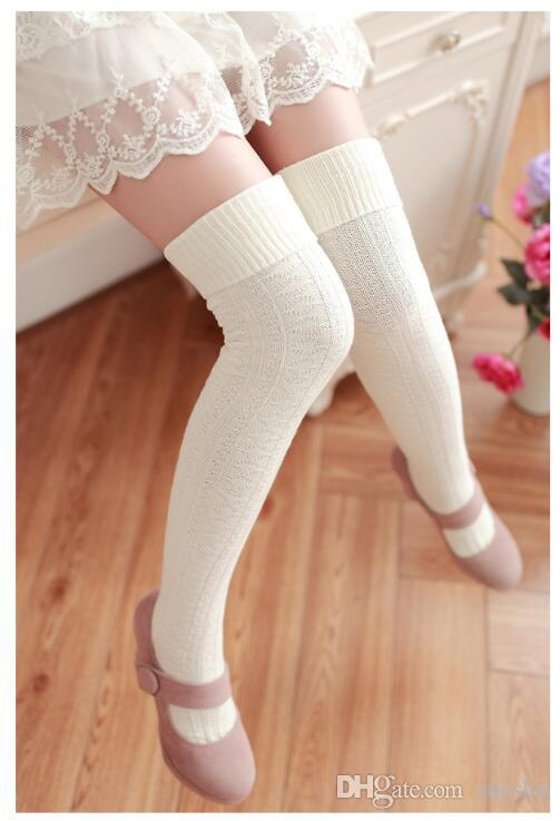 Las mujeres forman sobre las medias altas del muslo hasta la rodilla calcetines de diseño de alto almacenamiento 8 colores envío de la gota 100% algodón blanco del envío libre barato