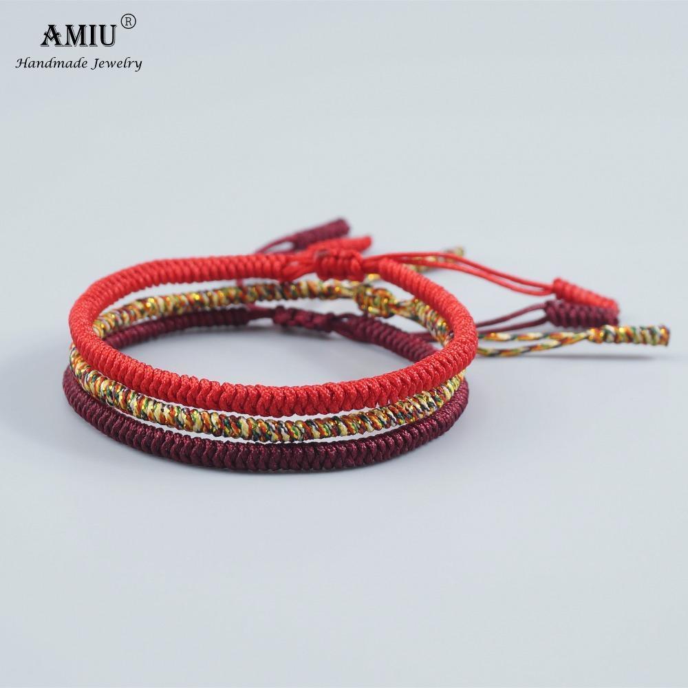 AMIU 3PCS 멀티 컬러 티벳 불교 좋은 행운의 매력 여성 티베트 팔찌 Bangles 남자 수제 매듭 로프 팔찌