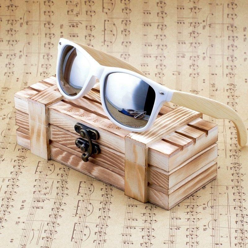 BOBO BIRD Womens Mens Bamboo Wooden Sunglasses White Frame eyewear With Coating Mirrored UV 400 Protection Lenses in Wooden Box SH190924