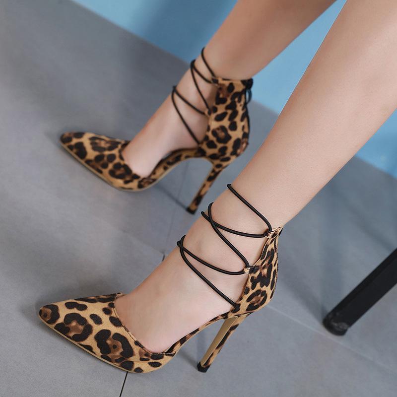 Hot2019 Sexy Joker Leopard Print Wind Back Zipper Sexy Fine With Grace Ma'am Sandals