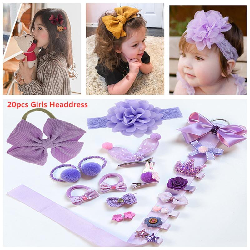 20 Pcs/Box Kids Accessories Hairpins Hair Clips Children Barrettes Girls Headdress Baby Fabric Bow Flower Headwear Headband