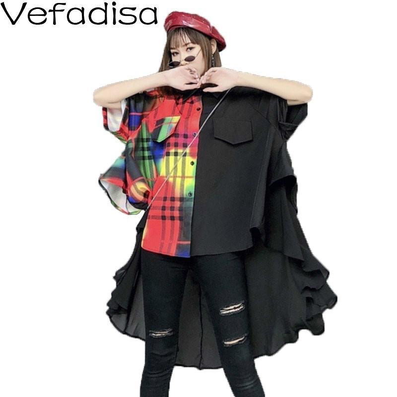 Vefadisa Plaid Hit colori camicetta irregolare camicetta delle donne 2020 Estate unito spaccato chiffon grande formato pipistrello manica QYF2024