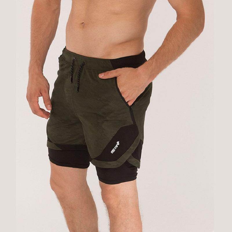 Verano camuflaje hombres 2 en 1 Pantalones cortos para correr nuevo jogging gimnasio fitness Pantalones cortos entrenamiento de secado rápido playa Pantalones cortos hombre deporte entrenamiento