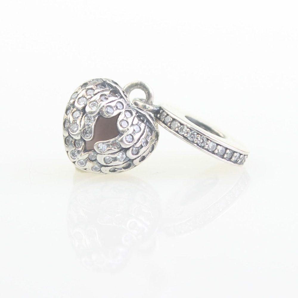 100% de perlas colgante 925 encantos de plata del ala del corazón de color rosa de circonio para las pulseras de rosca brazalete de la joyería de bricolaje LIUGUOLAN