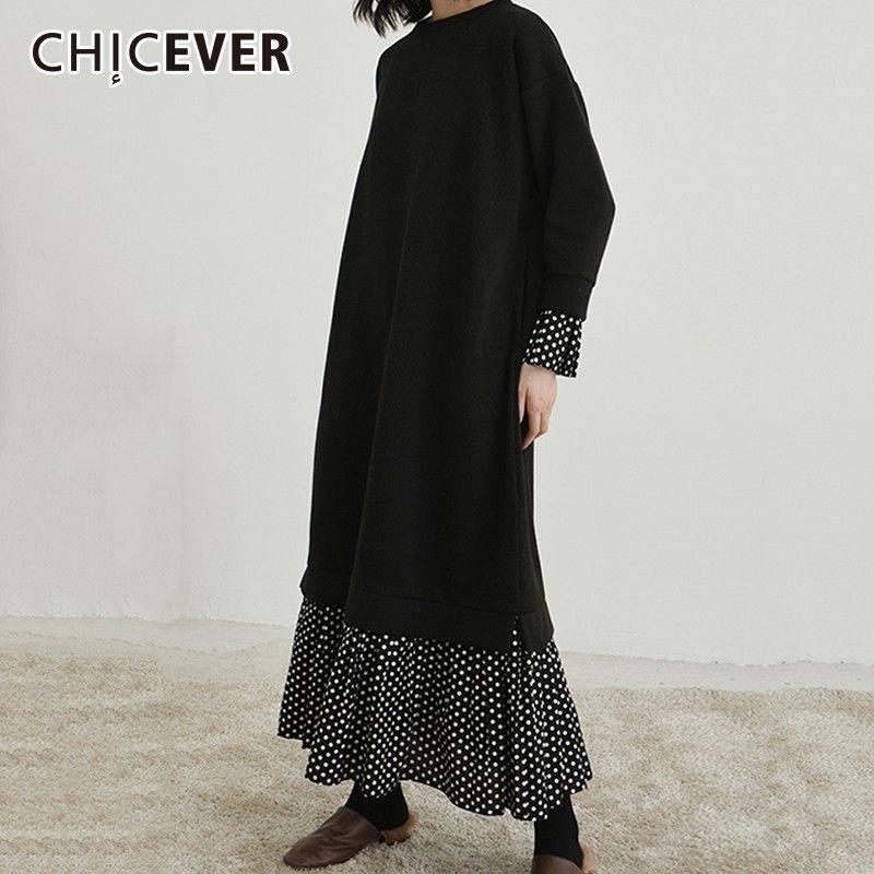 vendita all'ingrosso Patchwork Polka Dot Dress For Women O Collo Flare Sleeve Ruffles allentati vestiti delle donne di colore nero Abbigliamento casual Tide