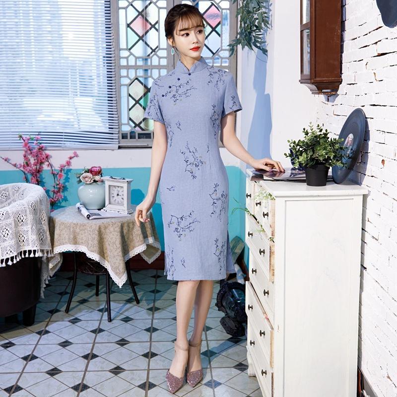 2020 китайского платье печати китайской традиционных vestidsos женщина женщина Cheongsam элегантных марочные платья партии короткий QiPao