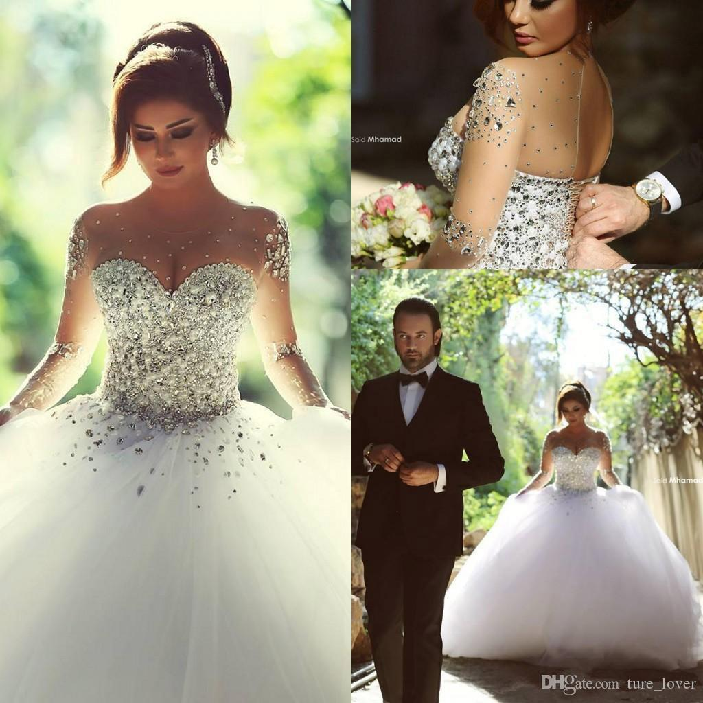 Arabic Ball Gown Wedding Dresses Crystal Beaded Sheer Neck Long Sleeves Said Mhamad Backless Corset Back Court Train Tulle Bridal Gowns