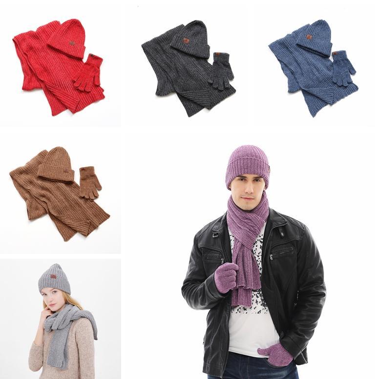 Мода Унисекс Шарф Перчатки Устанавливает Причинно Зимние Вязаные Шапки Шапочки Мужчины Ourdoor Теплые Перчатки Женщина Классический Зимний Шарф TTA1631