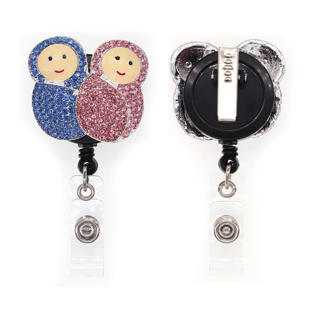 hemşire doktor hastane için 1pc / 5pcs / 10pcs Rhinestone Emaye İki Bebek Badge Reel Çekilebilir Yaka Kartı Tutucu