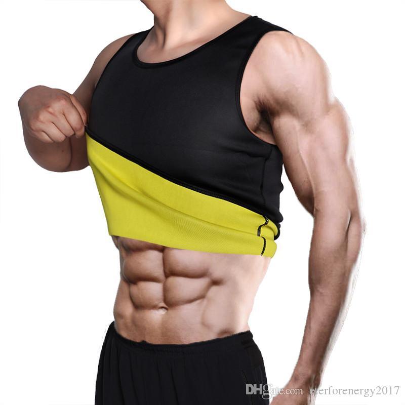 뜨거운 셰이퍼 자연 라텍스 울트라 땀 네오프렌 셔츠 체육관 조끼 Shapewear 남성 사우나 땀 바디 셰이퍼 허리 Cincher 배 트레이너 근육 남자