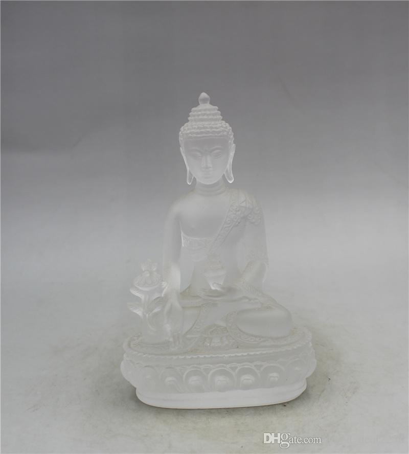 émail exquis chinois couleur sculpté Yakushi Bouddha de travail manuel Statues A24