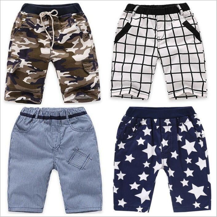 Baby Kids Clothes Ins Meninos Verão Calças infantil Grade listrado Shorts Fashion Boutique Shorts Camo Estrela Curto calças de algodão Calças Casual 4401