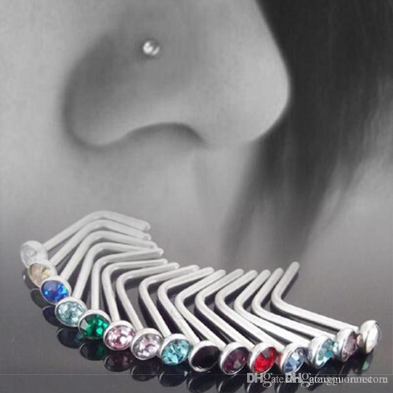 100PCS Punk Style Piercing Nose Lip Jewelry Body Jewelry For Man Women Studs 1.8mm Stainless Steel Body Piercing Jewelry