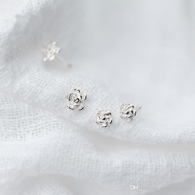 rose simple nose nail personality nose jewelry Small Thin 5 Clear Crystals Flower charm Nose Silver Hoop Stud Ring jewelry