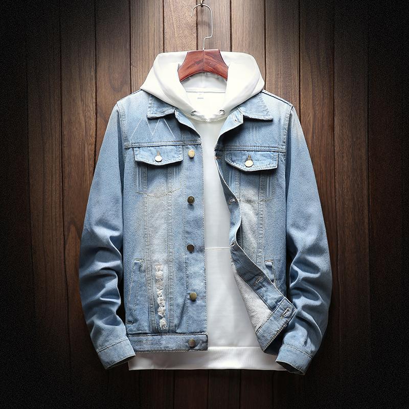 Chaqueta de mezclilla de moda chaqueta rayada Jeans Jeans Chaquetas Cuello de giro DarkBlue LightBlue M-4XL Spring y otoño hombres Denim Chaqueta